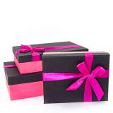 Коробка подарочная Розовый бант, Черный 29*19*8см