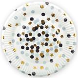 Тарелки Белые, конфетти, 7 дюймов, 6шт.